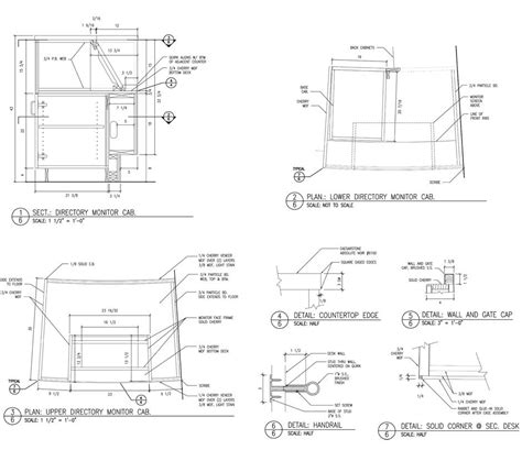 desk section cabinet section drawing