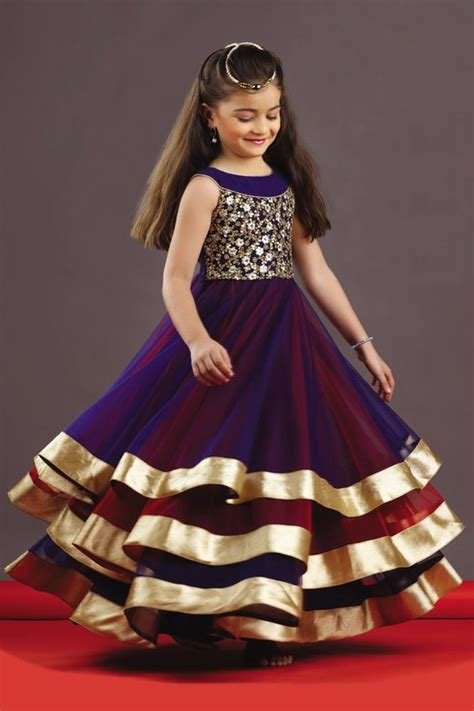 young girls latest gaun picture of three layered stunning kids gown in blue red