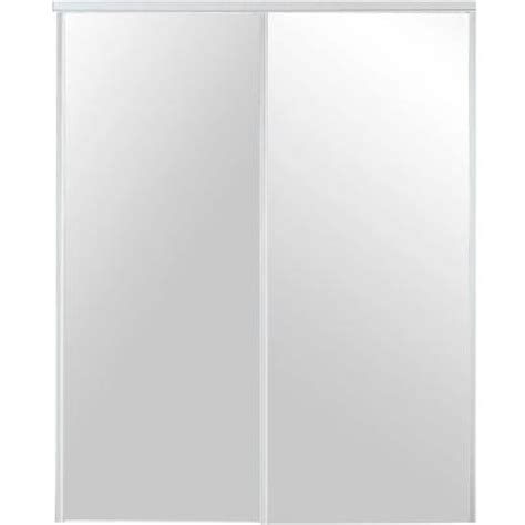 Mirrored Closet Doors Home Depot Truporte 230 Series White Mirror Interior Sliding Door 341400 The Home Depot