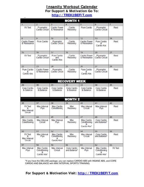 Insanity Workout Calendar Insanity Workout Calendar Fitness