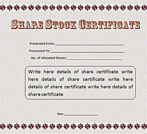 Stock Certificate Template Free In Word And Pdf Free Stock Certificate Template Microsoft Word