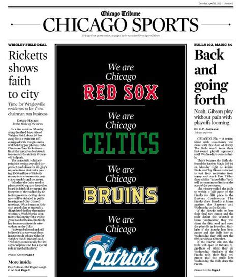 Chicago Tribune Business Section by Sports World Reacts To Tragedy Media Athletes Go To Bat