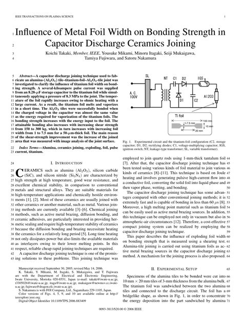capacitor discharging techniques influence of metal foil width on bonding strength in capacitor discharge ceramics joining pdf