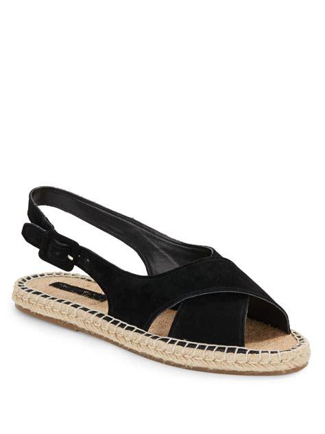 avenue shoes lyst saks fifth avenue ola suede jute sandals in black