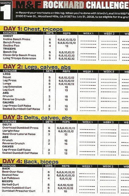 printable workout plan build muscle workout plans for men to build muscle google search