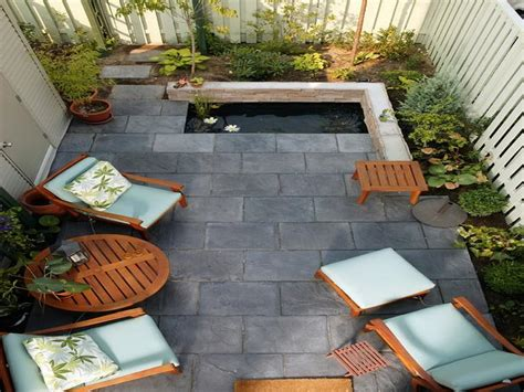 side patio ideas effective small patio ideas with small pond and