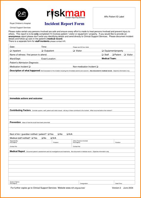 patient report form template patient incident report form portablegasgrillweber