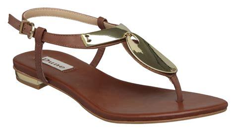 d sandals dune fifi d metal trim flat sandals in metallic lyst