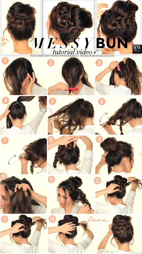 buns hairstyles how to second day hairstyles how to chubby braid wrapped messy
