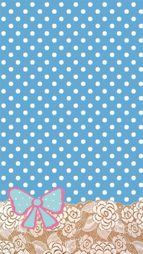 cute blue poka dots  bow wallpaper wallpaper