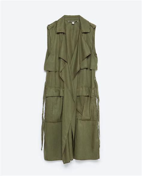 Zara Vest zara flowy vest in green khaki lyst