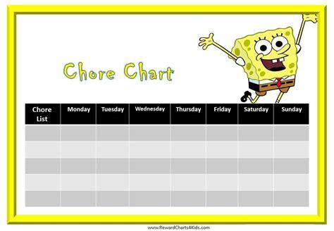 free printable reward charts spongebob printable chore charts