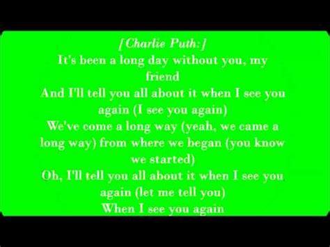 charlie puth see you again lyrics wiz khalifa ft charlie puth see you again lyrics