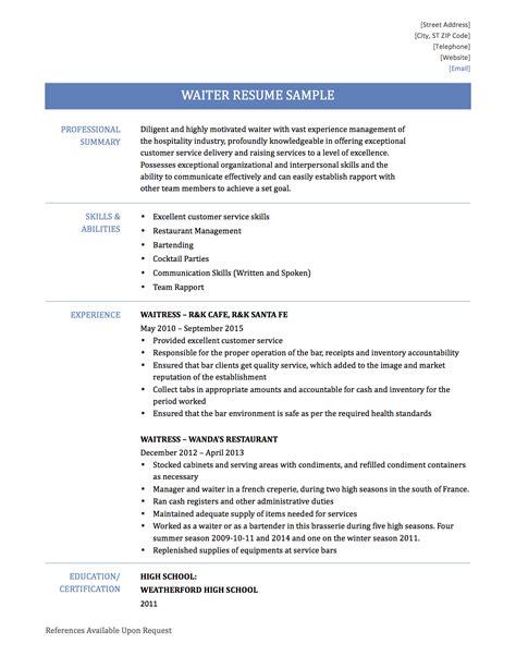 Resume Example Waitress Beautiful Skills