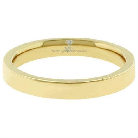 18k yellow gold 3mm flat wedding band heavy weight