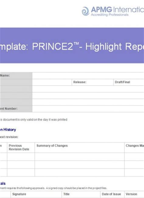 prince2 highlight report template prince2 174 highlight report template apmg business books