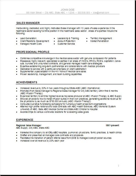Healthcare Resumes by Health Care Resume Templates Sales Manager Health Care