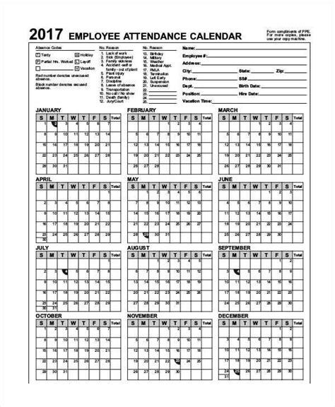2017 Employee Attendance Calendar Ppe Pictures To Pin On Pinterest Pinsdaddy Employee Attendance Calendar 2017 Printable Free Printable Calendar 2018 Template