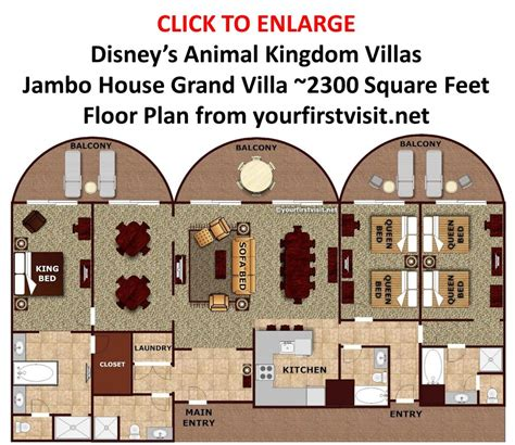 old key west grand villa floor plan sleeping space options and bed types at walt disney world