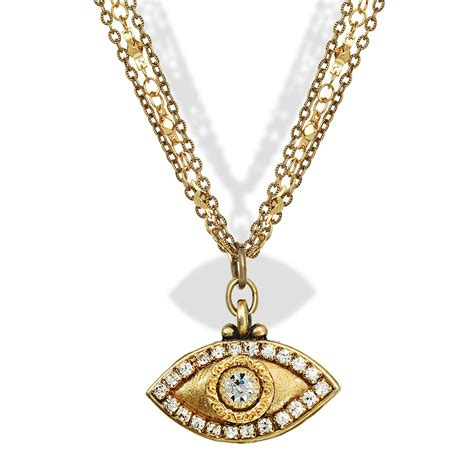 jewelry judaica gold evil eye pendant necklace