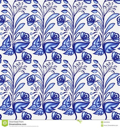 china blue pattern vector seamless porcelain indigo blue and white vintage persian