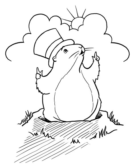Groundhog Day Coloring Page groundhog day children s stories poems carolyn s