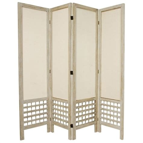 Lattice Room Divider Furniture Open Lattice 4 Panel Room Divider In White Fj Olmus 4p Bwht