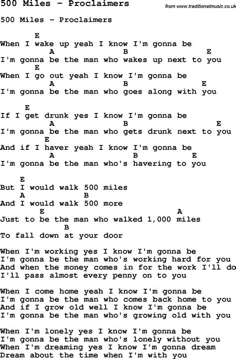 song chords song 500 by proclaimers song lyric for vocal