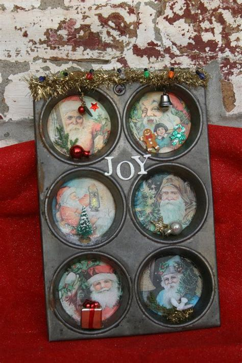 old repurposed vintage muffin tin christmas by