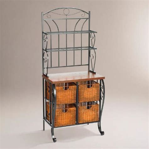 Bakers Rack With Baskets hillsdale baker s rack with baskets world market