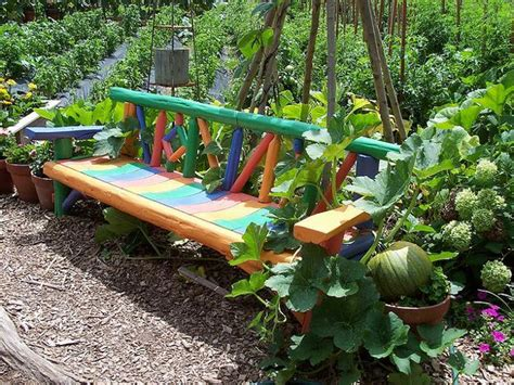 Unique Garden Ideas Decorating Unique Wooden Bench Decorating Ideas To Personalize Yard Landscaping And Garden Designs