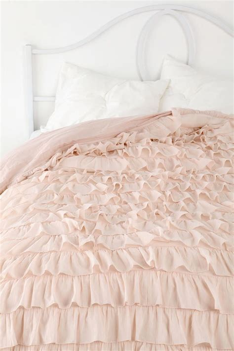 blush pink bedding waterfall ruffle duvet cover urban outfitters the