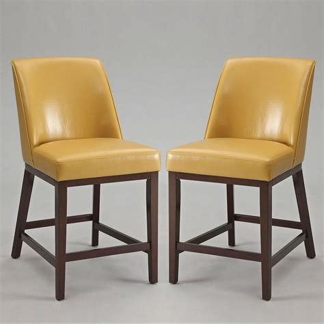 Stool Chair - valor set of 2 counter height bar stools chairs yellow pu