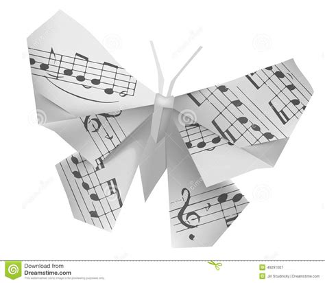 Origami Song - origami butterfly with musical notes stock vector image