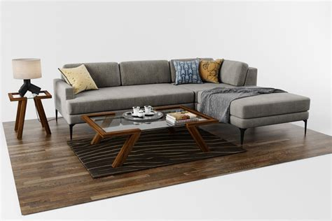 Sofa Andes Right Arm With Coffee Table And Accessories 3d