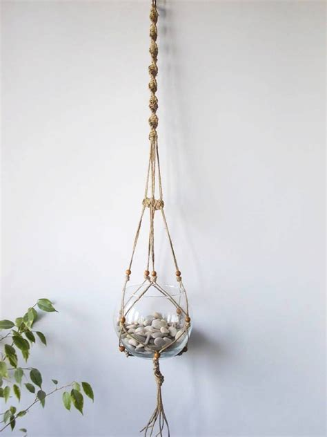 Hanging Macrame Plant Holder - twine macrame plant hanger indoor plant holder hanging