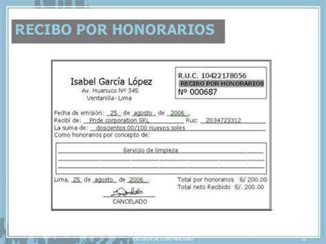 Retencion De Dinero Por Sunat Recibos Por Honorarios 2016 | comprobantes de pago