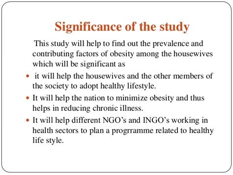 How To Make Significance Of The Study In Research Paper - obesity
