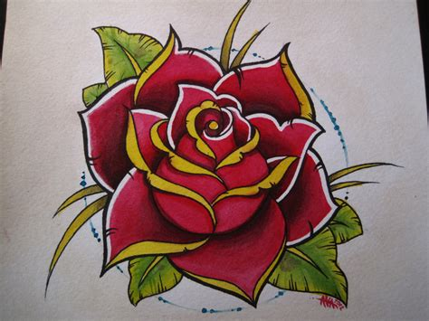 traditional rose watercolor on paper