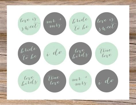 printable bridal shower cupcake toppers mint green gray grey cupcake toppers diy calligraphy