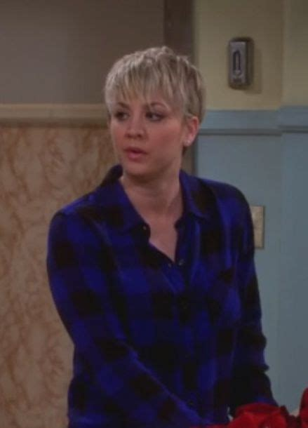 pictures of penny with short hair on big bang theory shirt penny blue cobalt big bang theory kaley cuoco