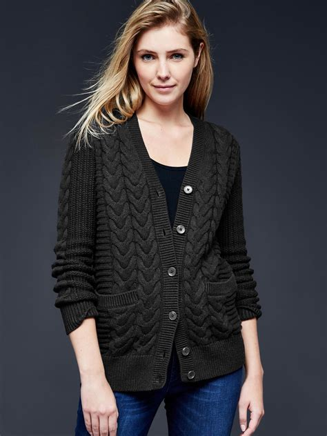 gap cable knit sweater gap honeycomb cable knit cardigan in black true black lyst