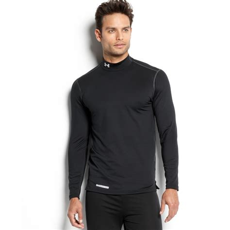 Ander Amour J armour evo coldgear fitted sleeve mock t shirt in black for lyst