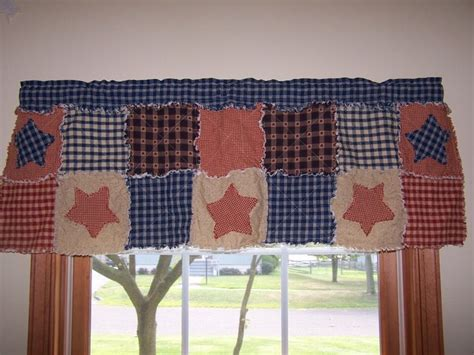 Curtain Valance Frontier Primitive Rag Quilt Style
