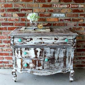 turquoise knobs and a distressed shabby white dresser petticoat junktion