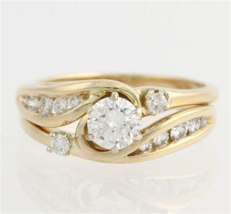 engagement ring wedding band wrap set 14k