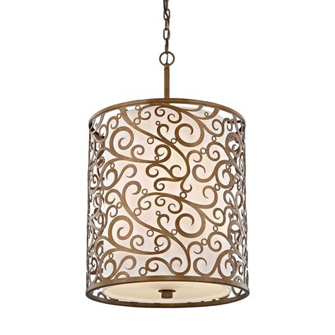 Fabric Shade Pendant Light Fifth And Lighting 6 Light Burnished Gold Pendant With Light Beige Fabric Shade Hd 1075
