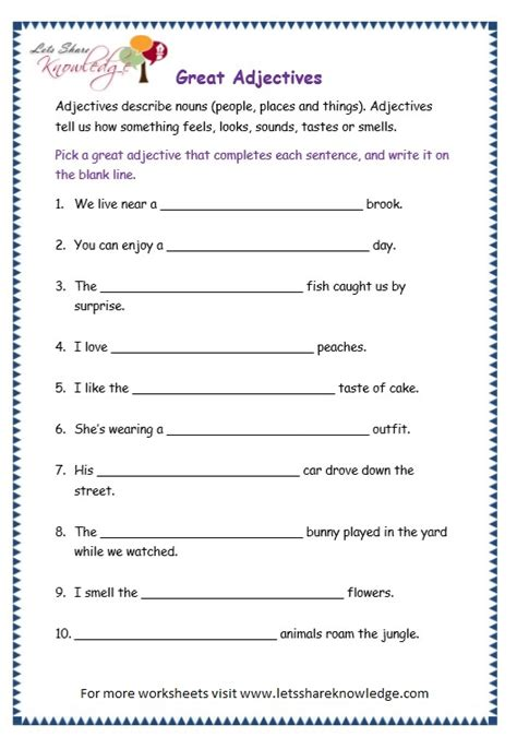 Adjective Worksheets For Grade by All Worksheets 187 Grade 4 Adjectives Worksheets Printable