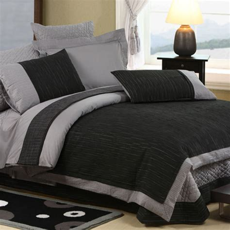 shop four glimmer duvet cover set in black and gray