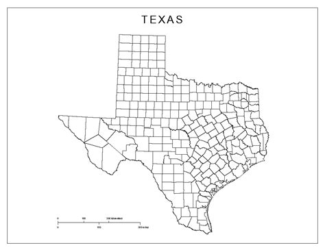 county map state of texas texas blank map